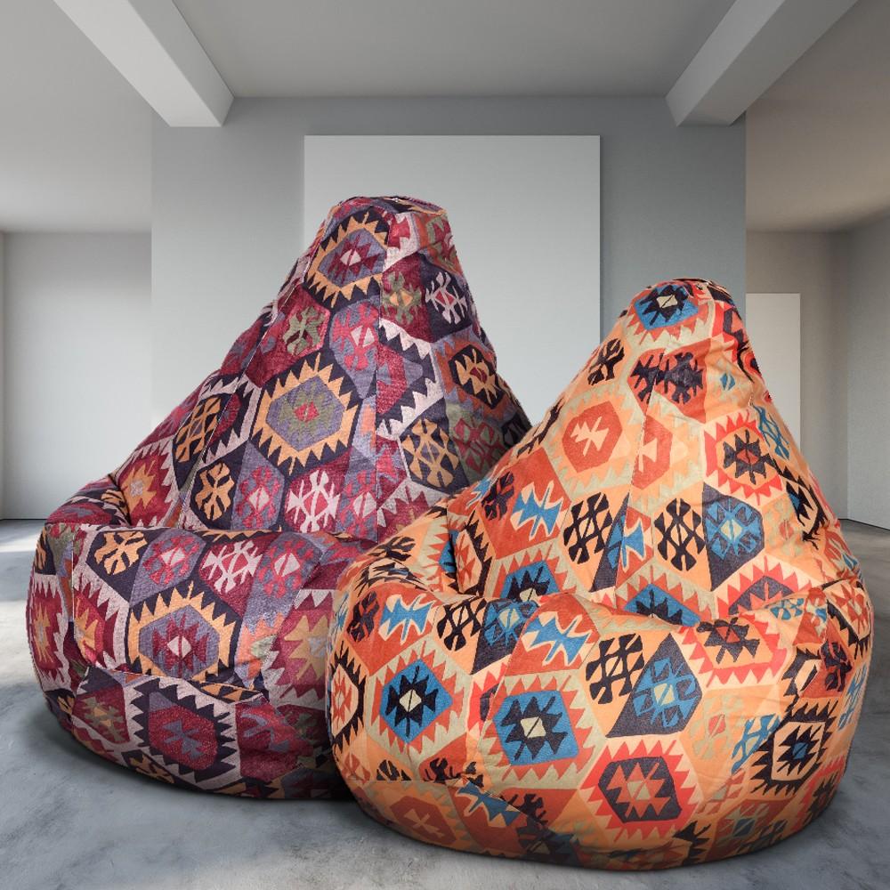 2 Кресла-Мешка по цене 1, Мехико Оранжевое и Бордовое (Классический)